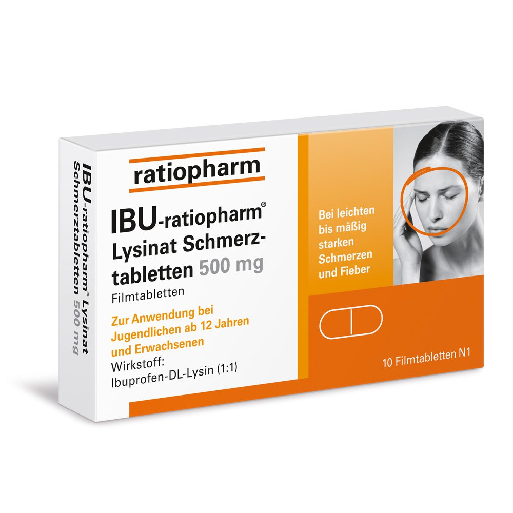 ibu ratiopharm lysinat schmerztabletten 500mg 10 stk. Black Bedroom Furniture Sets. Home Design Ideas